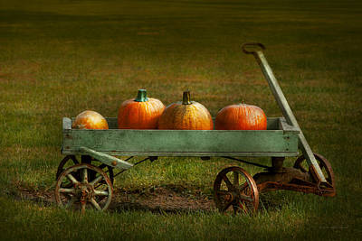 Autumn - Pumpkins - Free Ride Poster by Mike Savad