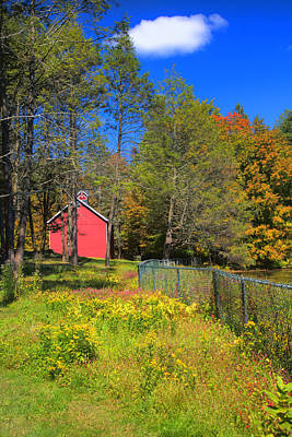 Autumn Red Barn Poster by Joann Vitali