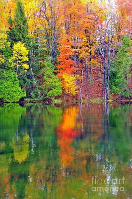 Autumn Reflecting In Still Waters Poster by Terri Gostola