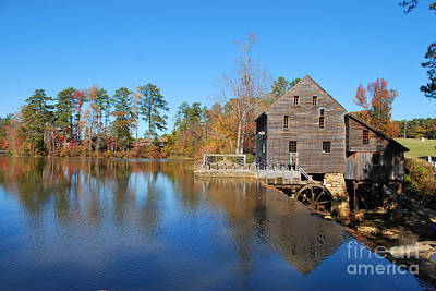 Poster featuring the photograph Autumn Reflections At Yates Mill by Bob Sample
