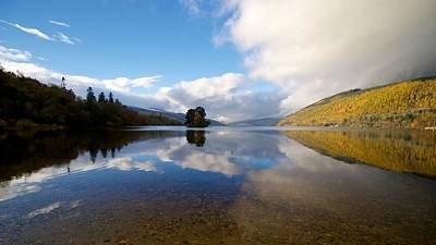 Poster featuring the photograph Autumn Reflections On Loch Tay by Stephen Taylor