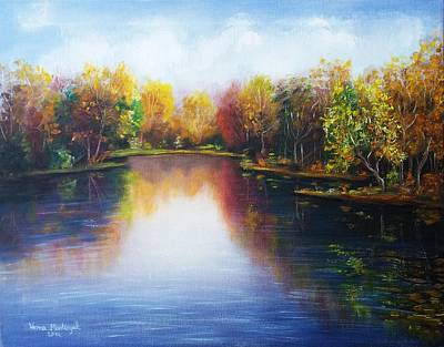 Poster featuring the painting Autumn Reflections  by Vesna Martinjak