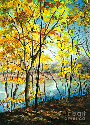 Autumn River Walk Poster by Barbara Jewell
