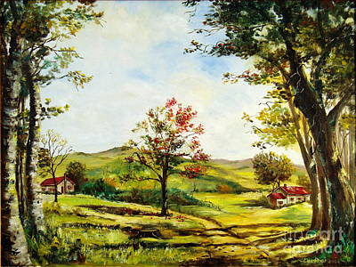 Poster featuring the painting Autumn Road by Lee Piper