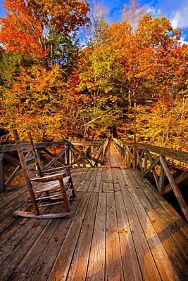 Autumn Rocking On Wooden Bridge Landscape Print Poster
