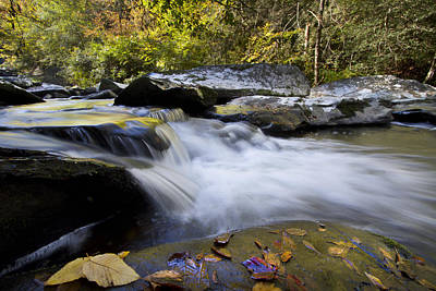 Autumn Rushing Water Poster by Debra and Dave Vanderlaan