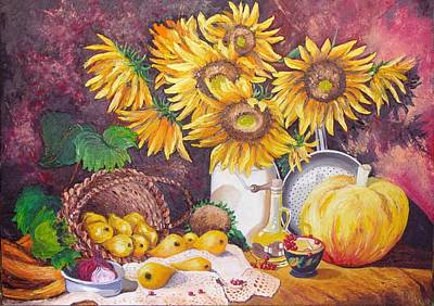 Poster featuring the painting Autumn Still Life by Nina Mitkova