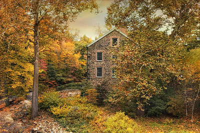 Autumn Stone Mill Poster