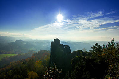 Autumn Sunrise In The Elbe Sandstone Mountains Poster