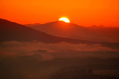 Autumn Sunrise On The Lilienstein Poster