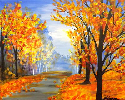 Poster featuring the painting Autumn Trail by Darren Robinson