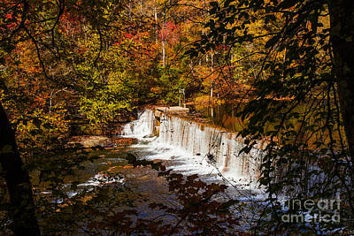 Autumn Trees On River Waterfalls Fine Art Prints As Gift For The Holidays  Poster by Jerry Cowart