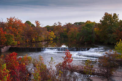 Poster featuring the photograph Refreshing Waterfalls Autumn Trees On The Stones River Tennessee by Jerry Cowart