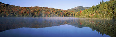 Autumn Trees Reflected In Heart Lake Poster