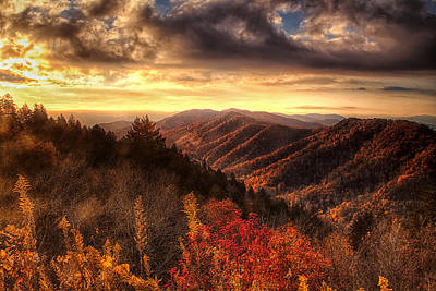Autumn View In The Smokies Poster by Andrew Soundarajan