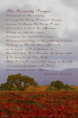 Autumn Vineyard The Serenity Prayer Poster by Barbara Snyder