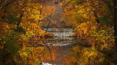 Autumn Waterfall Poster by Jen Morrison