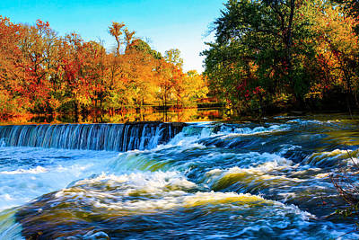 Amazing Autumn Flowing Waterfalls On The River  Poster
