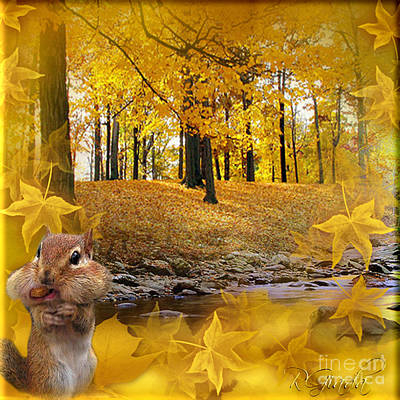 Poster featuring the digital art Autumn With A Squirrel - Autumn Art By Giada Rossi by Giada Rossi
