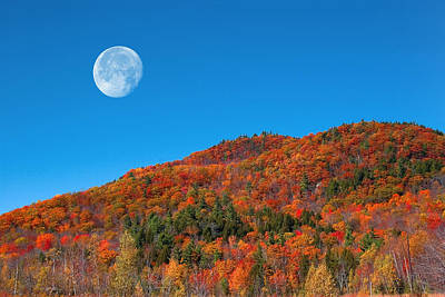 Poster featuring the photograph Autumn's Big Moon  by Larry Landolfi