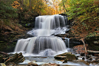 Autumn's Magical Spell On Tuscarora Falls Poster by Gene Walls