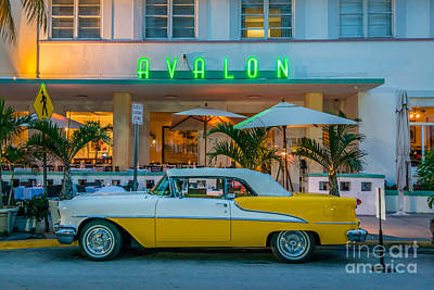 Avalon Hotel And Oldsmobile 88 - South Beach - Miami Poster by Ian Monk