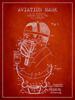 Aviation Mask Patent From 1946 - Red Poster by Aged Pixel