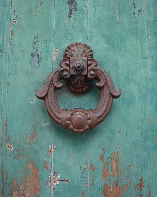 Poster featuring the photograph Avignon Door Knocker On Green by Ramona Johnston