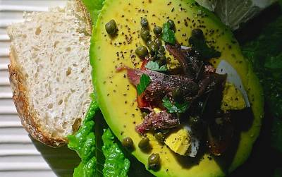 Avocado Tomato Salad With Anchovies Eggs And Capers Poster