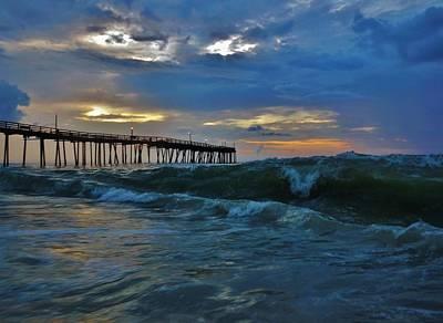 Avon Pier Sunrise Storm Wave 6/12/2014 Poster by Mark Lemmon