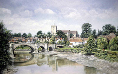 Poster featuring the painting Aylesford Bridge by Rosemary Colyer