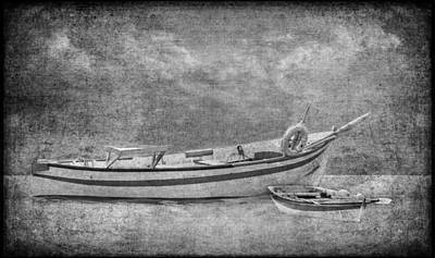 Azorean Fishing Boats B/w Poster