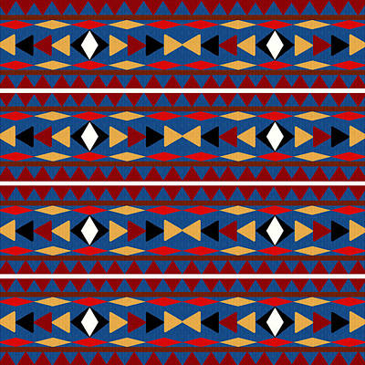 Aztec Blue Pattern Poster by Christina Rollo