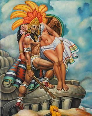 Aztec Couple Poster by Arturo Miramontes