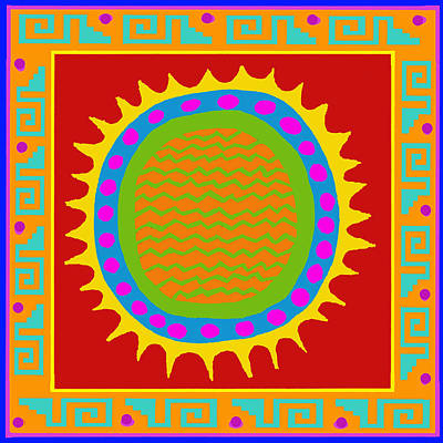 Aztec Del Sol Poster by Vagabond Folk Art - Virginia Vivier