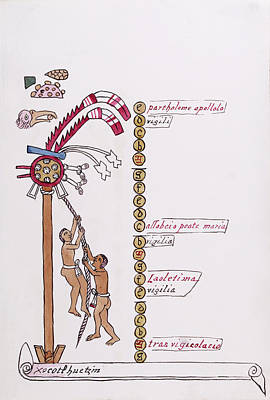 Aztec Month Hueymiccaihuitl Poster by Library Of Congress