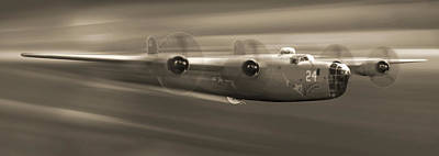 B - 24 Liberator Legend Panoramic Poster by Mike McGlothlen