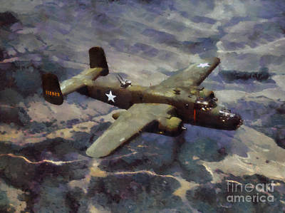 Poster featuring the painting B-25 Bomber by Kai Saarto