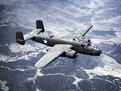 B-25 World War II Era Bomber - 1942 Poster by Daniel Hagerman