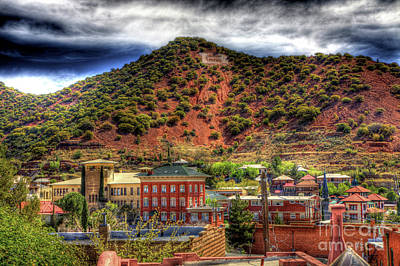 B Hill Over Historic Bisbee Poster by Charlene Mitchell