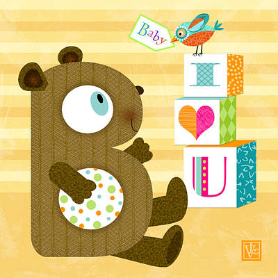 B Is For Baby Bear Poster by Valerie Drake Lesiak