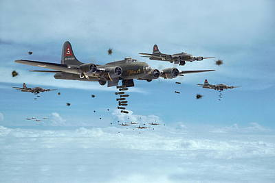 B17 - Mighty 8th Arrives Poster by Pat Speirs