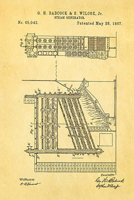 Babcock Steam Generator Patent Art 1867 Poster by Ian Monk