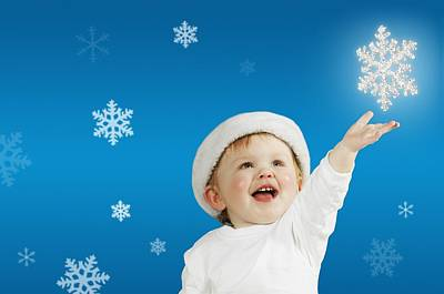 Baby And Snowflakes Poster