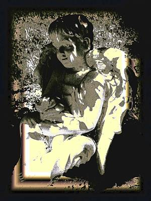 Baby Angel With Teddy Poster by Lisa Brandel
