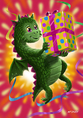 Baby Birthday Dragon With Present Poster by Martin Davey