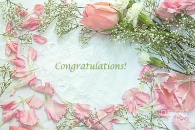 Baby Girl Congratulatory Card Poster