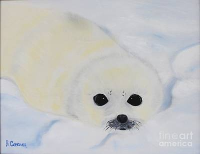 Baby Harp Seal Poster by Bev Conover