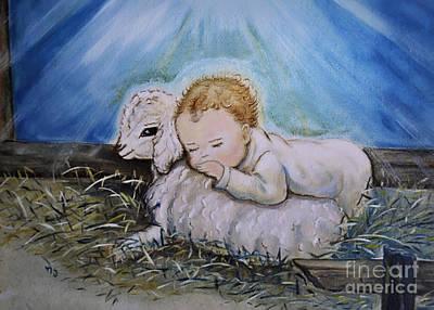 Baby Jesus Little Lamb Poster