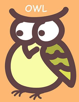 Baby Owl Nursery Wall Art Poster by Nursery Art